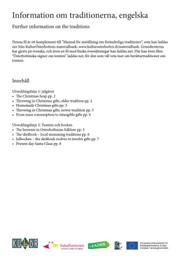 Information om traditionerna, engelska