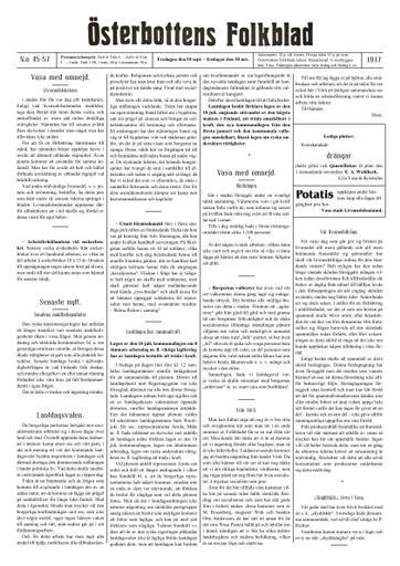 Österbottens folkblad sammandrag 1917