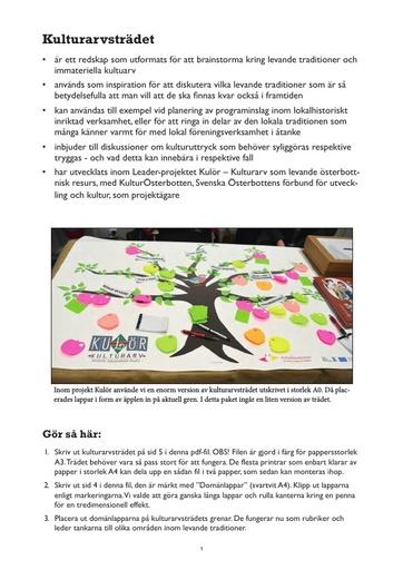 Kulturarvsträdet, paket för brainstorming