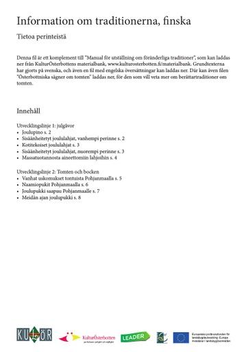 Information om traditionerna, finska