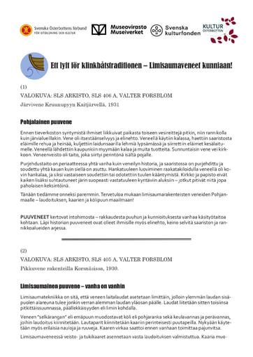 Översättning till finska av klinkbåtsskyltarna